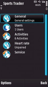 Sports Tracker Settings menu