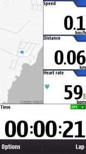 Main screen for workout with heart rate