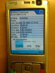 N95 and SportsTracker heart rate summary